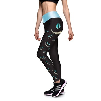 New 0014 Sexy Girl Leggings Alice in Wonderland Cheshire Cat Prints High Waist Running Fitness Sport Women Yoga Pants Plus Size 1