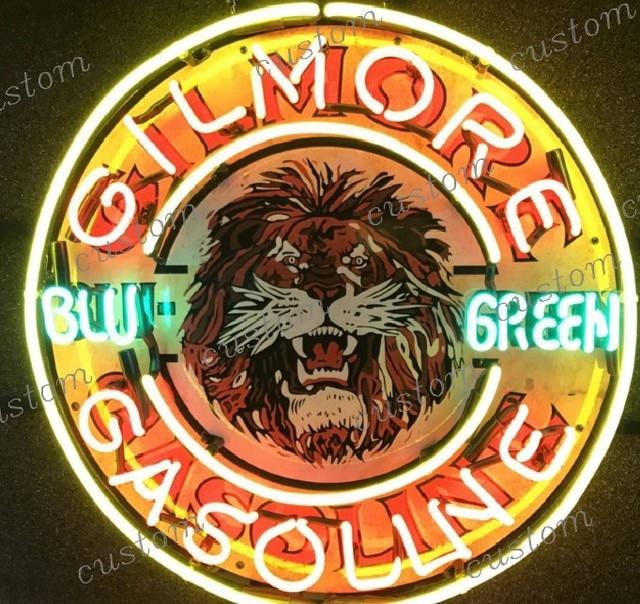 Custom GILMORE GASOLINE BLU GREEN Glass Neon Light Sign Beer Bar
