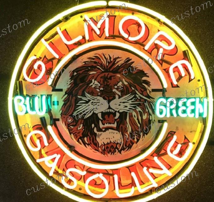 Custom GILMORE GASOLINE BLU GREEN Glass Neon Light Sign Beer Bar|Neon Bulbs & Tubes| |  - title=