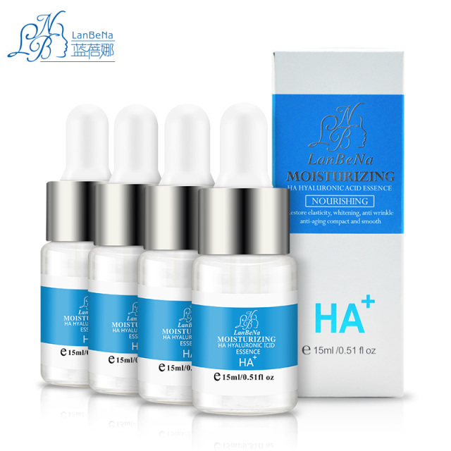 LANBENA HA Hyaluronic Acid Liquid 15ml*4 Bottles Snail Pure Extract Moisturization Whitening Rejuvenation Face Care Cream Serum
