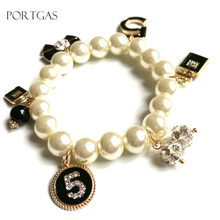 New Trendy Pearl bracelets & bangles for women bijoux Crystal No.5 Luxury pearl Bracelet pulseiras feminina gift jewelry(China)
