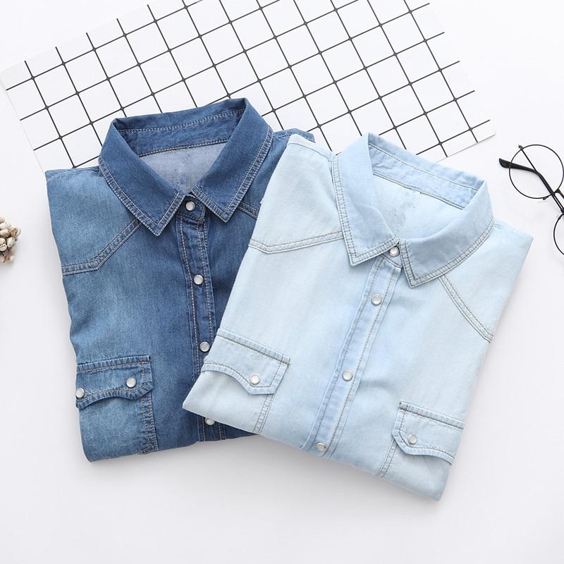 Kvinnors Denim tröja Jeans Skjortor för kvinnor Kärlek Långärmad - Damkläder - Foto 1