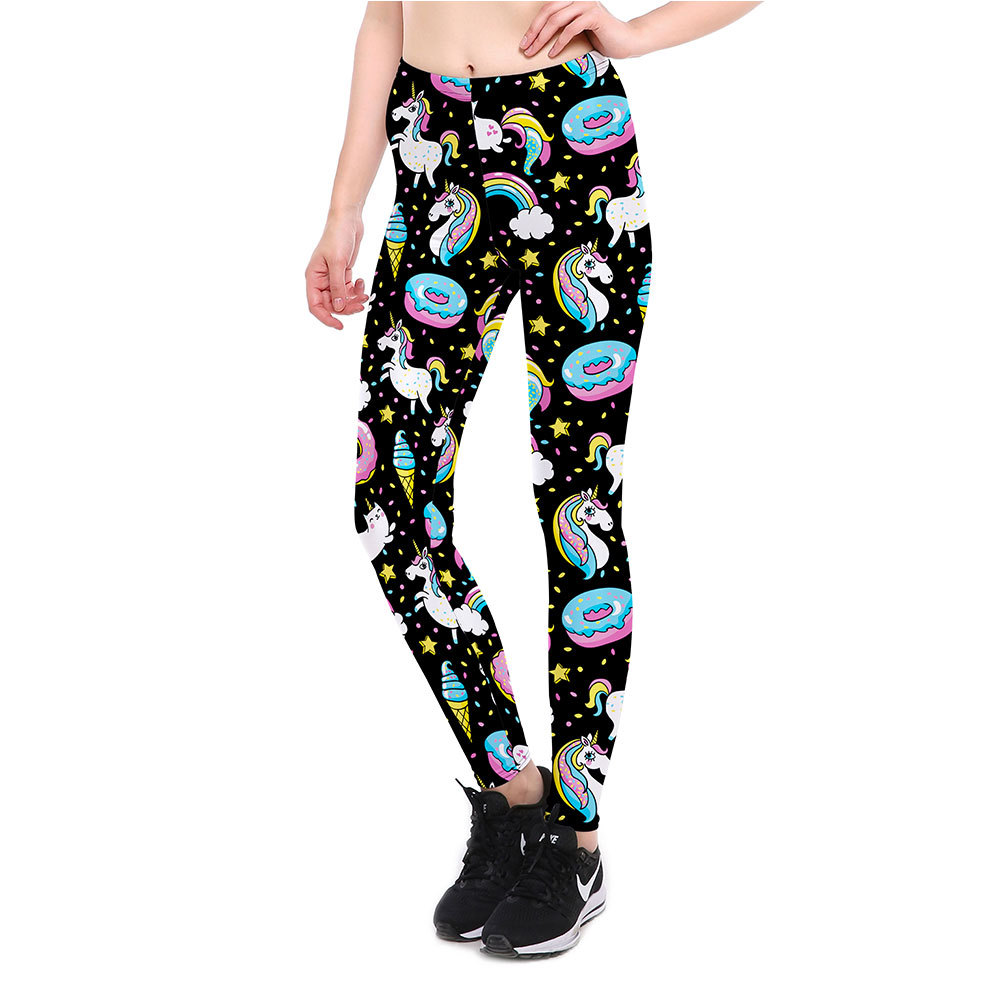 27d5f1ff6c Black BLUE donuts PINK Unicorn printing fitness feminino workout clothes  PLUS SIZE XXXXL full length pants