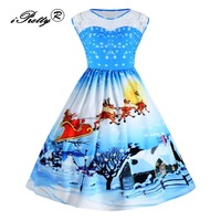 Christmas Print Lace Patchwork Dress Women Sleeveless Elegant Party Sexy Summer Dresses 1950s Style Rockabilly Swing