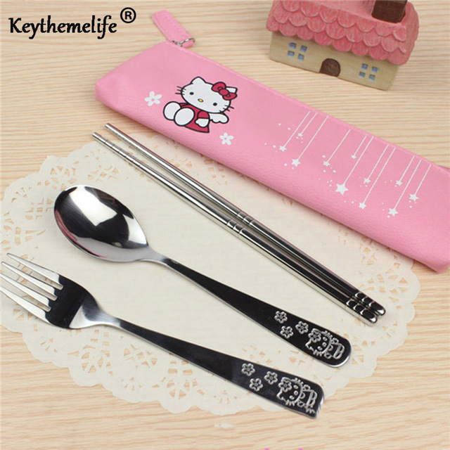 Cartoon Hello kitty Dinnerware set for Kids Tableware 3pcs/set Stainless Steel Travel Tableware 2C
