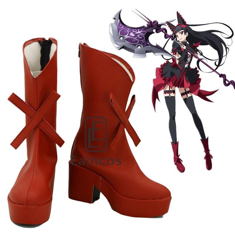 Porte Jieitai Kanochi nite Kaku Tatakaeri Enryuu-poule Rory Mercure Cosplay Halloween Party Chaussures Rouge Fantaisie Bottes Faite