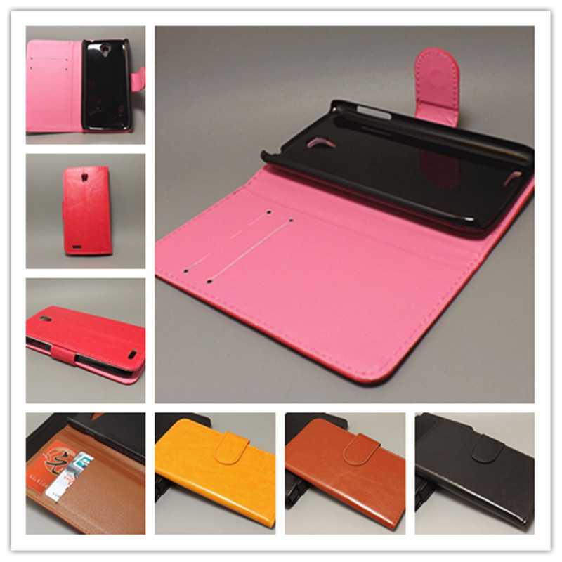 Crazy horse wallet case hold two Cards with 2 Card Holder and pouch slot For Lenovo S820