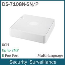 Envío Libre de DHL 8CH NVR Mini DS-7108N-SN/P Plug & Play PoE NVR para la Cámara IP HD 8 Independientes de La Red PoE Vedio Grabador de