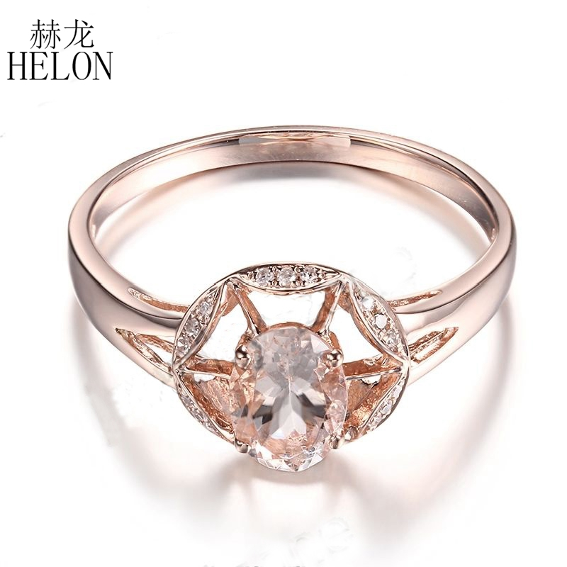 HELON Solid 14K Rose Gold Oval Cut 7x5mm Morganite Pave Diamonds Gemstone Engagement Wedding Party Fine Ring Women's Jewelry