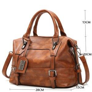 Image 4 - KMFFLY Luxury Vintage Handbags for Women Leather Shoulder Bag Female Famous Brand Simple Casual Tote Bag Sac Femme Handbag 2019