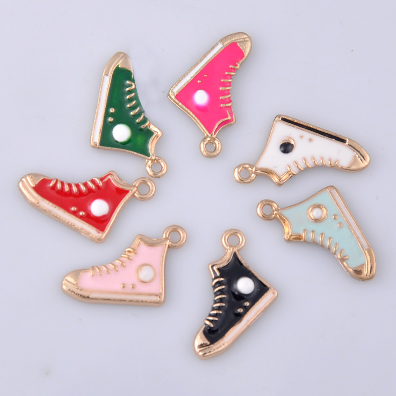 Mix 7pcs 20*12MM enamel Gym sports shoes charms for bracelet, metal sneaker pendants dangle jewelry making findings components(China)
