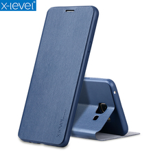 X-Level Book Leather Flip Cases For Samsung Galaxy J4 J6 J8 2018 Ultra Thin J400F J600F J800F Business Leather Funda Cover Case