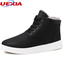 UEXIA Men Boots Winter With Fur Super Warm&Plush Snow Boots Men Shoes Footwear Fashion Male Rubber Ankle Fashion Work Outdoor