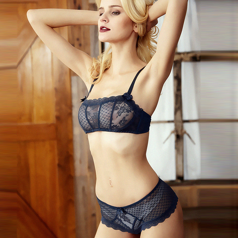 CINOON Hot Sale Lace Underwear Women Sexy Ultra-thin Transparent Bra set Tube Top Comfortable Underwire Push Up Lingerie