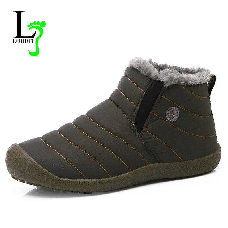 2017 Men Snow Boots Waterproof Winter Casual Ankle Boots With Fur Fashion Men Boots Rubber