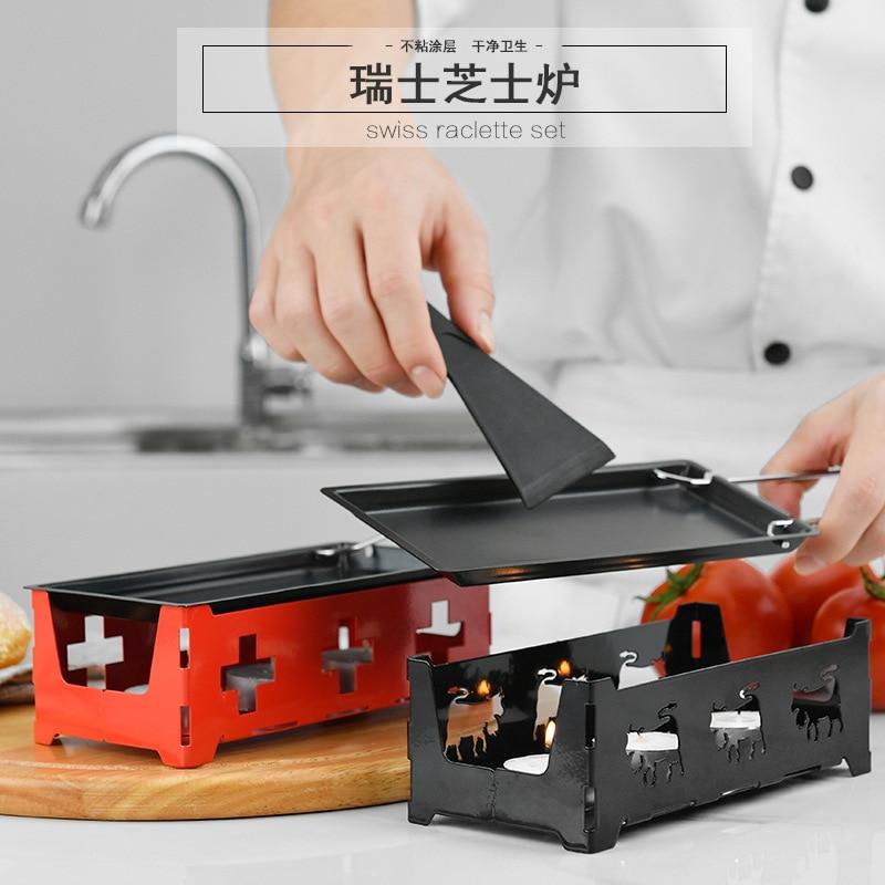 BEEMSK Swiss Cheese Roasters Practical Gadgets Wooden handle mini nonstick baking tray oven BBQ