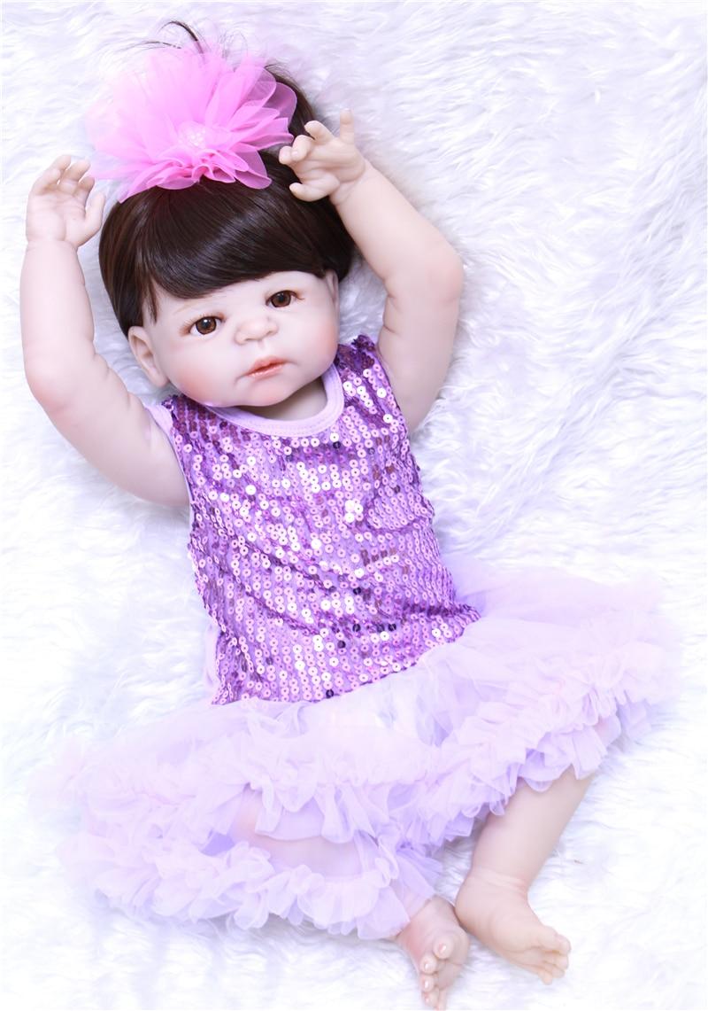 23 Lifelike Reborn Baby Dolls White Skin Babies Doll Full Vinyl Body So Truly Girl Model Doll For Toddler bebe Toy Gifts