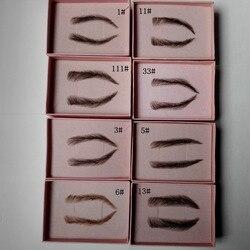 Накладные ресницы для мужчин, черные, ручная работа, Узелок, поддельная бровь, невидимые швейцарские кружевные ресницы
