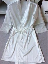 mid-sleeve sexy women nightwear robes  m l xl xxl lace real silk  bathrobes   vs  hot