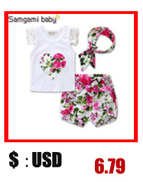23e6c8fefd8e ᗛ0-24months 3pcs Floral printed Baby Girl Clothes Set Baby headband ...
