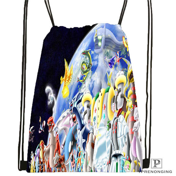 Custom Pokemon_pikachu@01- Drawstring Backpack Bag Cute Daypack Kids Satchel (Black Back) 31x40cm#180611-01-43