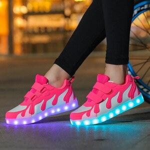 Image 4 - Size25 38 USB çocuk parlayan sneakers ile işıklı ayakkabı kanvas ayakkabılar aydınlık sneakers erkek kız krasovki arkadan aydınlatmalı