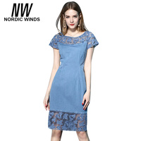 Nordic Winds 2017 Hot Spring And Summer Lace Hollow Denim Short Sleeve Dress Round Neck Stitching