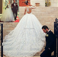Индивидуальные Новый Дешевый Принцесса Свадебное Платье 2016 С Длинным Рукавом Часовня Поезд Sheer Кружева Бальное платье Свадебное Платье Vestido де noiva