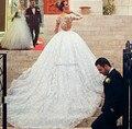 Customized New Cheap Princess Wedding Dress 2016 Long Sleeve Chapel Train Sheer Lace Ball Gown Bridal Dress Vestido de noiva