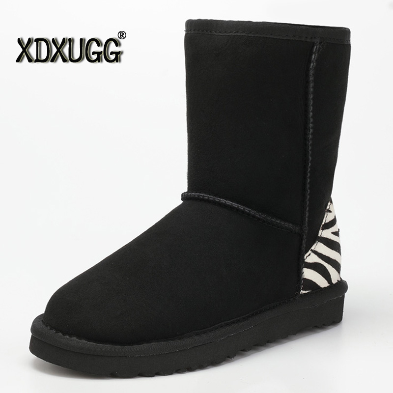 100% sheep wool in xdx ug snow boots female winter warm shoes, genuine leather quality assurance Mid-Calf! Free Shipping quality assurance in textbook development