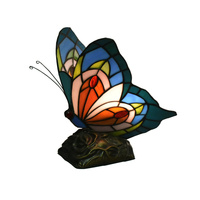 Tiffany Style Night Light Small Mini Stained Glass Dale Lamps Butterfly Desk Table Lamp Light Antique Unique On Sale