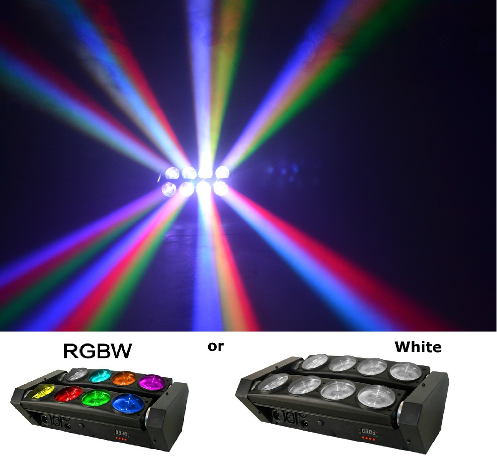 Free shipping RGBW 4in1 led spider beam light led 8x10W beam moving head wash led spider light white stage effect party light