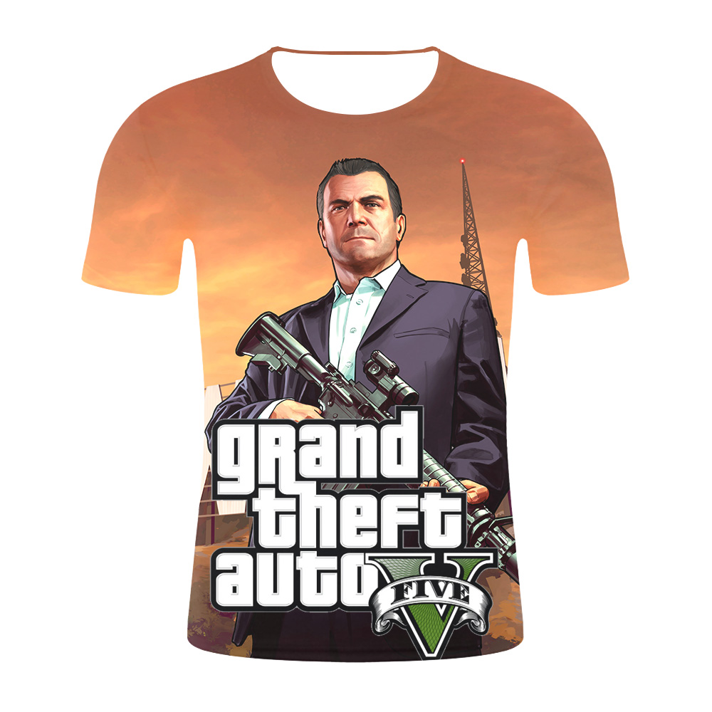 Grand Theft Auto Game GTA 5 Men Summer   T     Shirts   Cool GTA5 Men TShirt Colorful Print   T  -  shirt   in Couples Tee   Shirt   Funny clothing