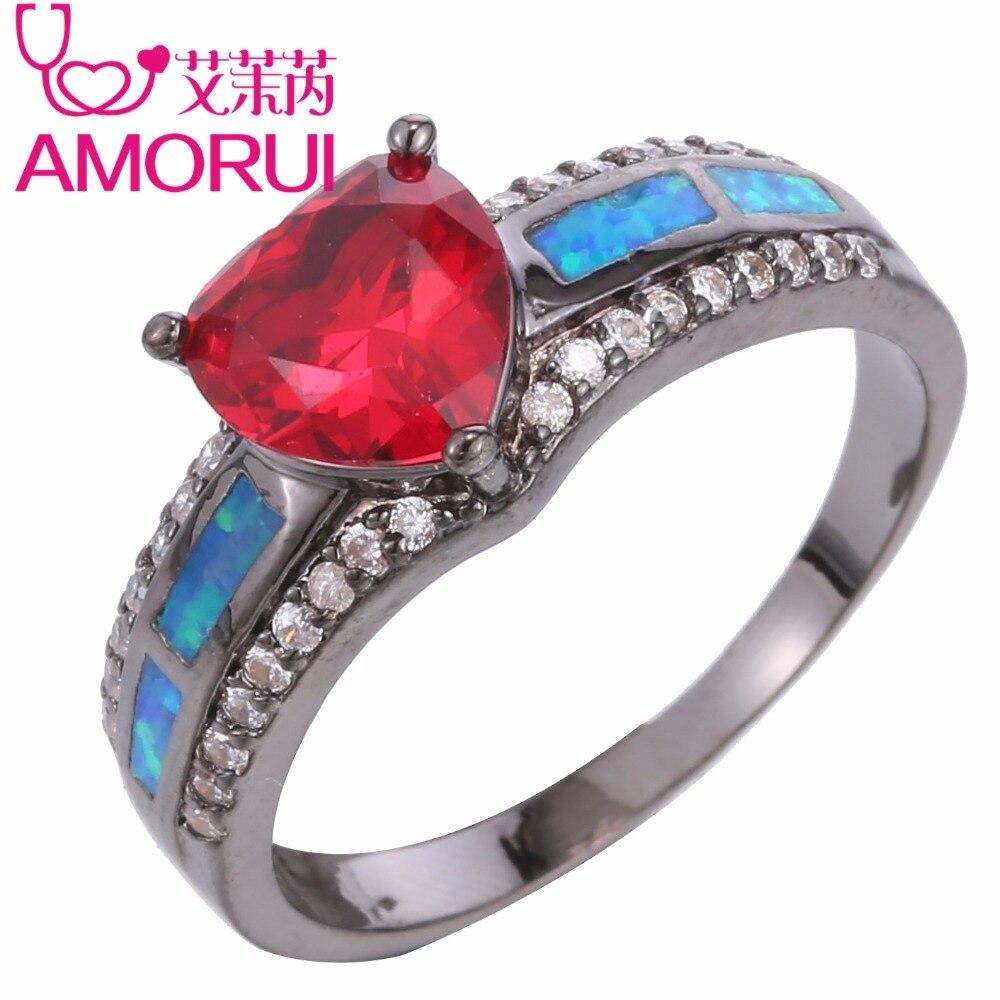 AMORUI Trendy Liebe Rotes Herz CZ Kristall Frauen Ringe Schwarz Gold Januar Birthstone Blue Opal Fashion Femme Schmuck Anillos