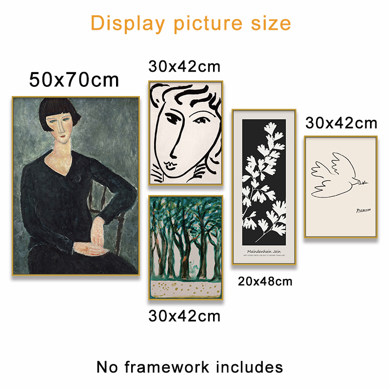 HTB12IMISzDpK1RjSZFrq6y78VXaw Classic Amedeo Modigliani Picasso Artwork Collection Sketch Canvas Print Painting Poster Wall Pictures Living Room Home Decor