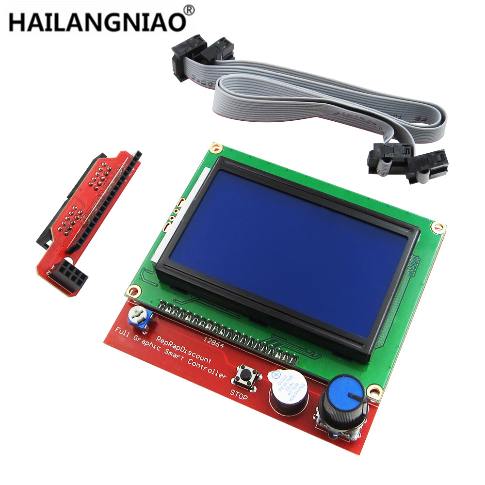 12864 LCD Ramps Smart Parts RAMPS 1.4 Controller Control Panel LCD 12864 Display Monitor Motherboard Blue Screen Module 1 pcs ramps1 4 lcd 12864 control panel 3d printer smart controller lcd display free shipping drop shipping l101