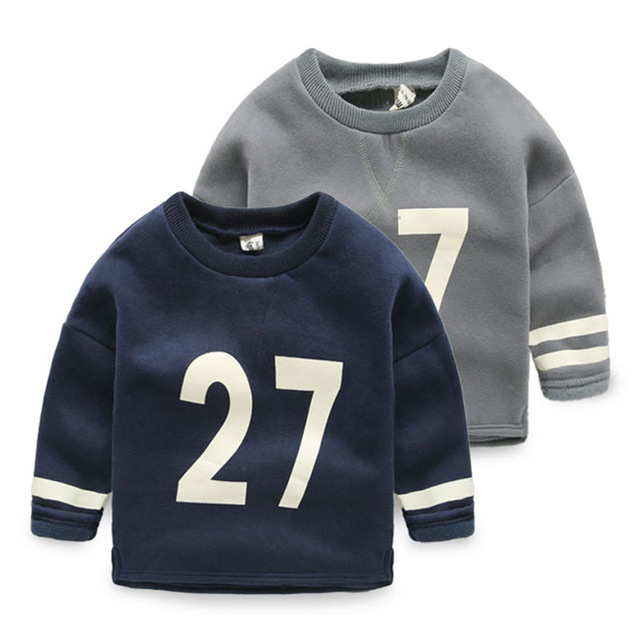 Children warm clothes Girls winter long sweatshirts velvet Kids letter printing long sleeve tops round Neck babay boys t shirts