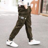 Big Pockets Boys Pants 2018 Spring Teenage Clothing Kids Pants Boy Trousers Children Cotton Clothes Boys Joker Leisure Trousers