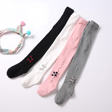 0-2 Years Dual-use crotch spring new girl pants cotton baby knitting bottom bow infant tights