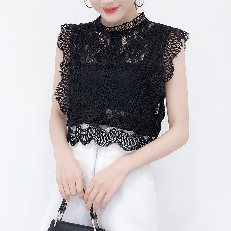 Women 2018 New Summer Ulzzang Sleeveless Sexy Hollow Out Lace Turtleneck Casual Shirts Lady Sweet Elegant Blouse and Tops-in Blouses & Shirts from Women's Clothing on AliExpress - 11.11_Double 11_Singles' Day 1