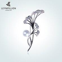 Le Papillion astilla de 925 Sterling lujo cristales perla flor en forma de broche Pasadores ZIRCON Broches partido Broches para las mujeres