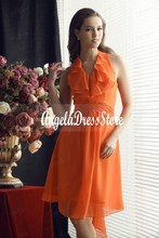 2016 New Cheap Short Bridesmaid Dresses Ruffles A-Line Halter Knee-length Orange Chiffon Hot Sale