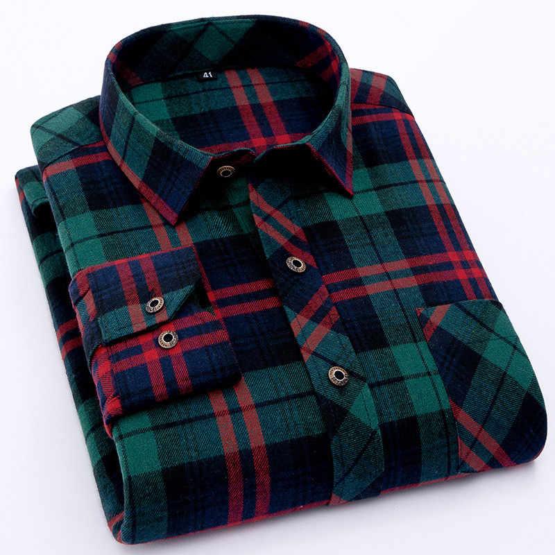 Camisa de franela roja a cuadros para hombre 2020, camisa de vestir a la moda para hombre, camisas casuales de manga larga suaves y cálidas, camiseta masculina para hombre