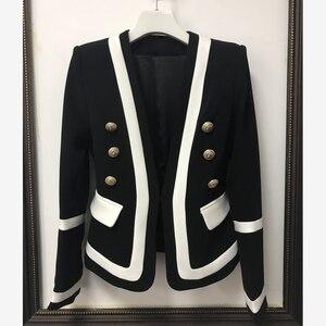 Image 2 - גבוה רחוב חדש אופנה 2020 מעצב בלייזר נשים של קלאסי שחור לבן צבע בלוק מתכת כפתורים בלייזר מעיל חיצוני ללבוש