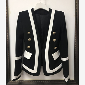 Image 2 - HIGH STREET New Fashion 2020 Designer Blazer Womens Classic Black White Color Block Metal Buttons Blazer Jacket Outer Wear