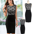 Retro 2015 Women Black Lace Dress Sleeveless Knee-length Sexy Bodycon Robe Elegant Office Work dresses Club Dress large size