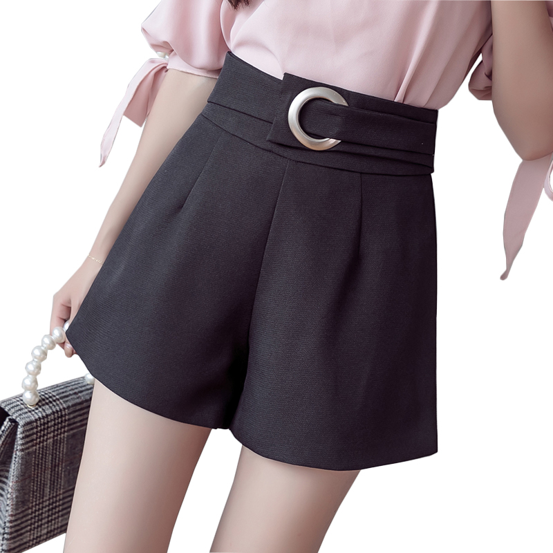 New korean elegant high waist   shorts   women fashion wide leg loose black white khaki slim   shorts   feminino student causal   shorts