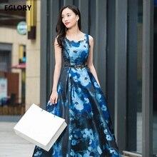 9b7e6ee4a29 Blue Long Dress New Plus Size XXXL Women Summer 2018 Elegant Floral Print  Spaghetti Strap Ladies