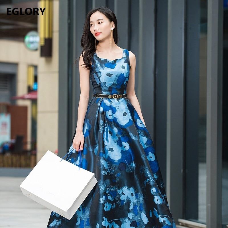 Robe longue bleue nouvelle grande taille XXXL femmes été 2018 élégant Floral imprimé Spaghetti sangle dames décontracté partie longue Maxi robe