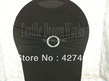 Hot Sale Black Spandex Bands / Lycra Band /Chair Covers Sash With Crystal Round Buckle For Wedding & Banquet